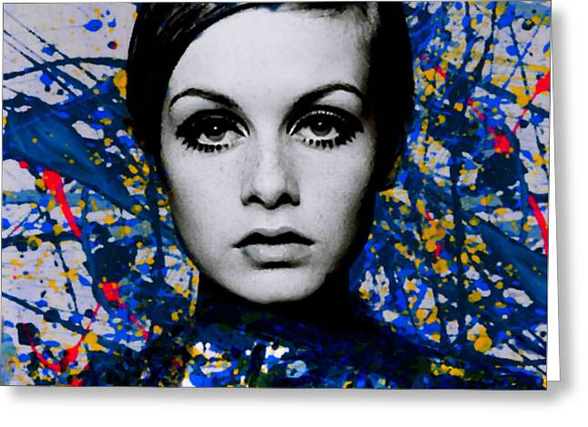 Miss Twiggy - Extreme Splash - Pollock Style  Greeting Card