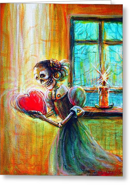 Greeting Card featuring the painting Missing You by Heather Calderon