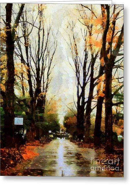 Missing You - Rainy Day Park Greeting Card by Janine Riley