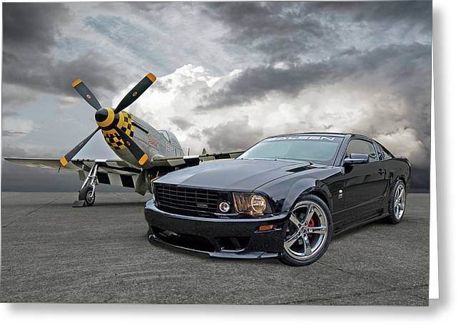 Mission Accomplished - P51 With Saleen Mustang Greeting Card by Gill Billington