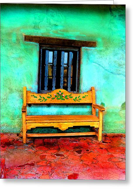 Greeting Card featuring the digital art Mission Bench by Timothy Bulone