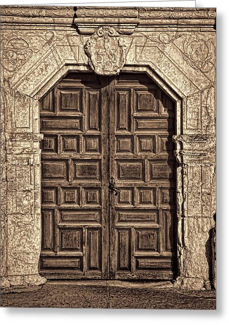 Mission Concepcion Doors - Sepia Greeting Card by Stephen Stookey