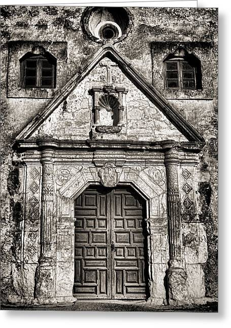 Mission Concepcion Front - Toned Bw Greeting Card by Stephen Stookey