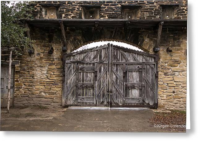 Mission Entrance Wooden Gate  Greeting Card