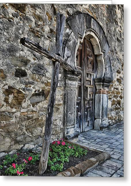 Mission Espada Cross And Door Greeting Card