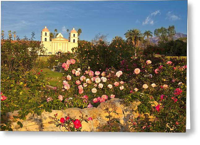Mission In Colorful Landscape Setting Greeting Card by David Buffington