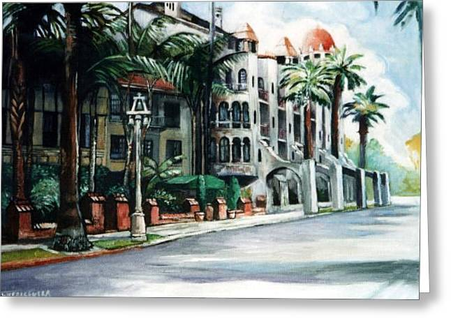 Greeting Card featuring the painting Mission Inn - Riverside- California by Paul Weerasekera