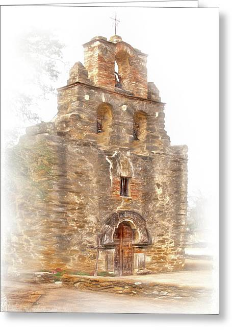 Greeting Card featuring the photograph Mission San Francisco De La Espada In Faux Pencil Drawing  by David and Carol Kelly