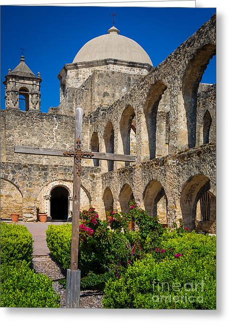Mission San Jose Towers Greeting Card by Inge Johnsson