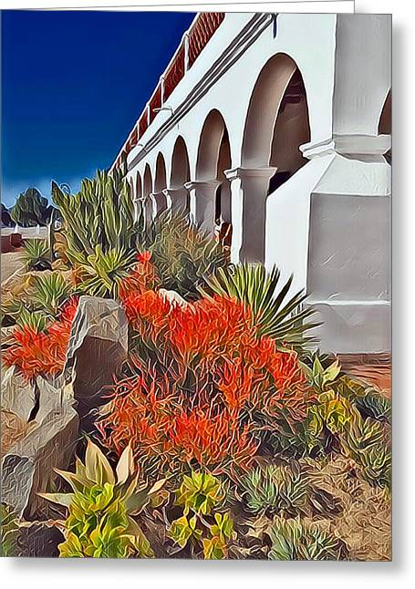 Mission San Luis Rey Garden Greeting Card
