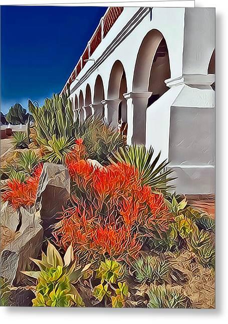 Mission San Luis Rey Garden Greeting Card by Karyn Robinson