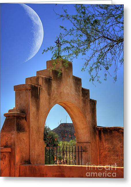 Mission San Xavier Del Bac Greeting Card by Lois Bryan