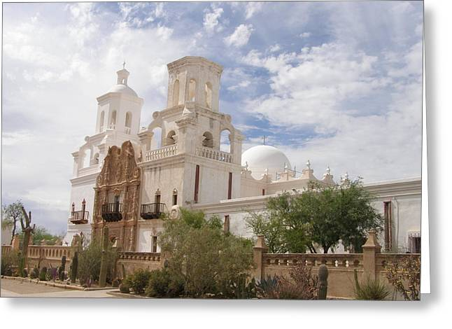 Mission San Xavier Greeting Card by Jeanette Oberholtzer
