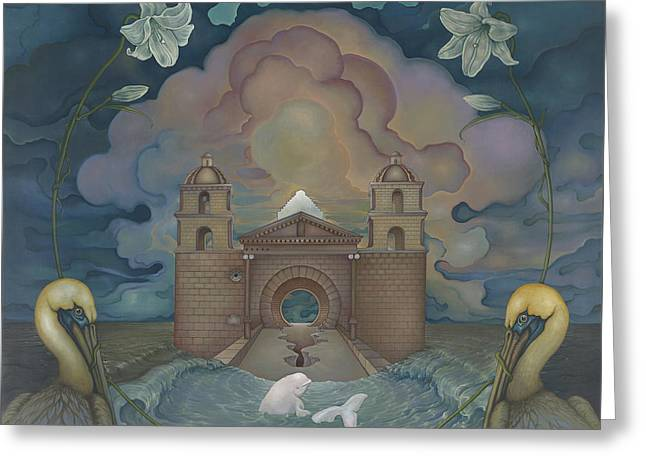 Greeting Card featuring the painting Mission Santa Barbara by Andrew Batcheller