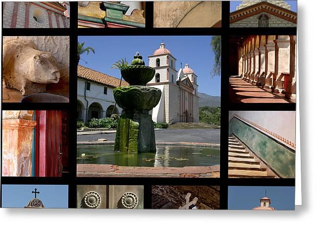 Mission Santa Barbara Greeting Card by Art Block Collections