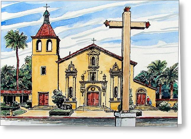 Greeting Card featuring the painting Mission Santa Clara De Asis by Terry Banderas