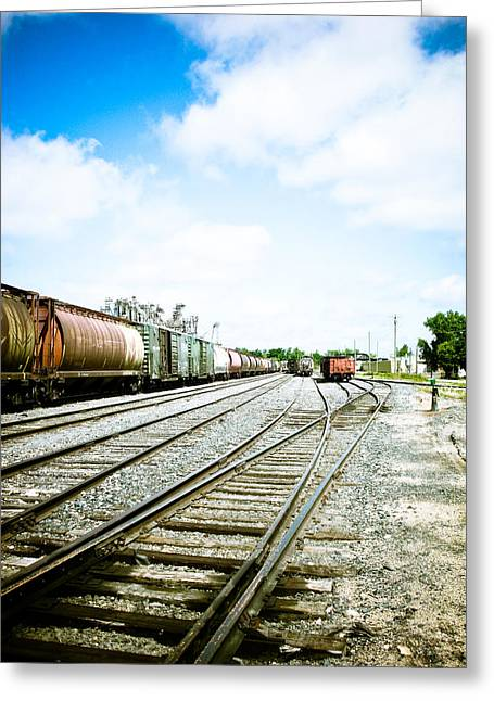 Train Photography Greeting Cards - Mission Street train Yard Greeting Card by Michael Knight