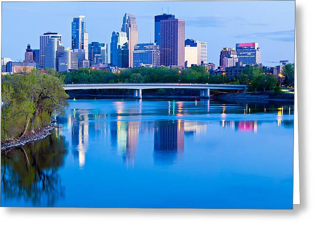 Mississippi And Minneapolis Greeting Card by Adam Pender