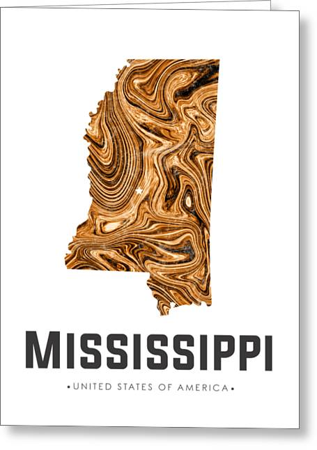 Mississippi Map Art Abstract In Brown Greeting Card