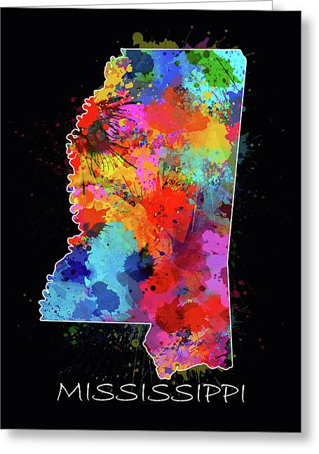Mississippi Map Color Splatter 2 Greeting Card