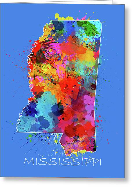 Mississippi Map Color Splatter 3 Greeting Card