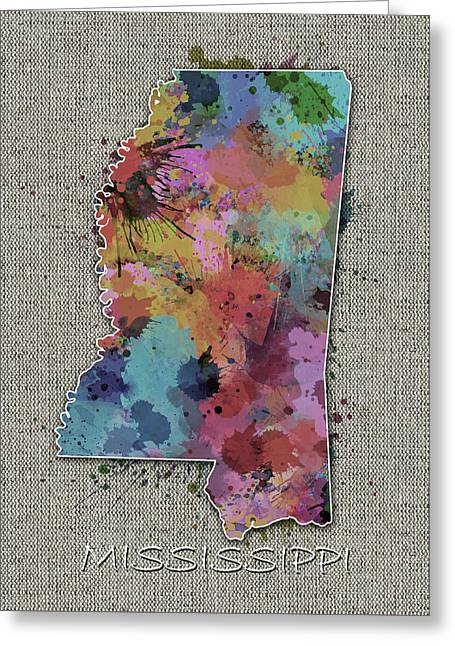 Mississippi Map Color Splatter 5 Greeting Card
