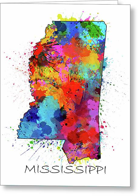 Mississippi Map Color Splatter Greeting Card