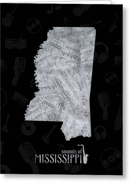 Mississippi Map Music Notes 2 Greeting Card