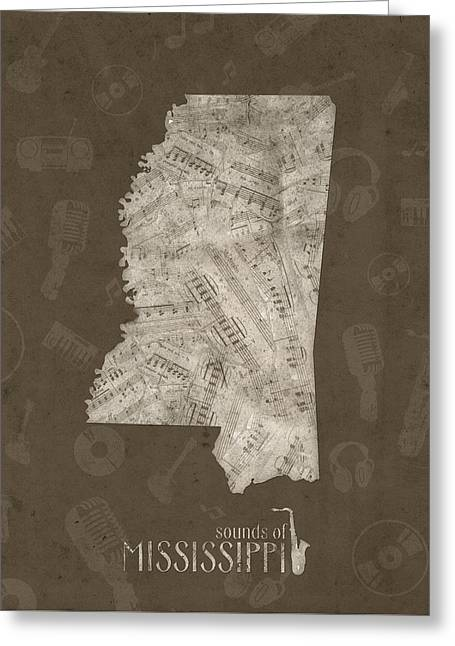 Mississippi Map Music Notes 3 Greeting Card