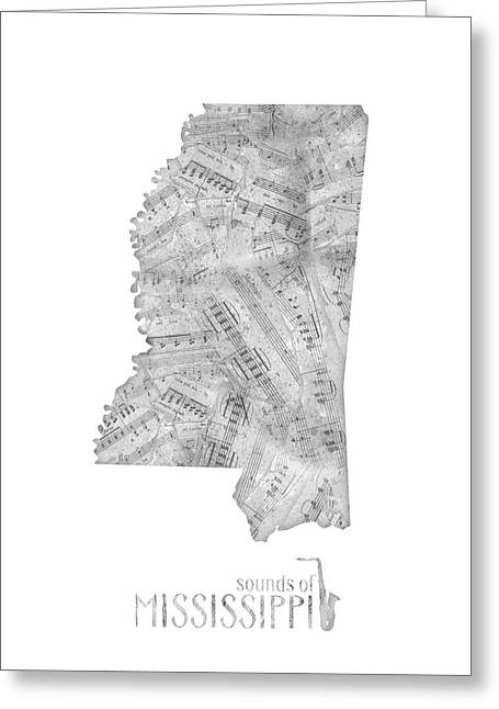 Mississippi Map Music Notes Greeting Card