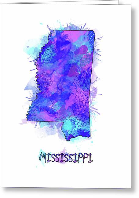 Mississippi Map Watercolor 2 Greeting Card