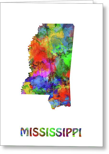 Mississippi Map Watercolor Greeting Card