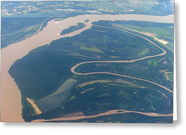 Mississippi River Aerial Shot Greeting Card by Randy Muir