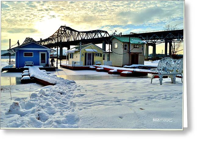 Mississippi River Boathouses Greeting Card