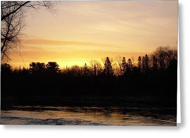 Greeting Card featuring the photograph Mississippi River Orange Sky by Kent Lorentzen