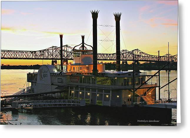 Mississippi Riverboat Sunset Greeting Card