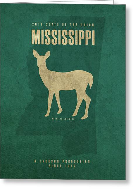 Mississippi State Facts Minimalist Movie Poster Art Greeting Card by Design Turnpike