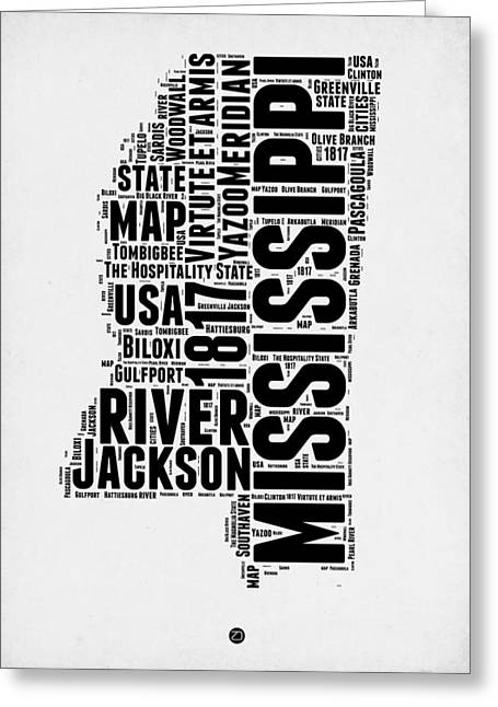 Mississippi Word Cloud 2 Greeting Card by Naxart Studio