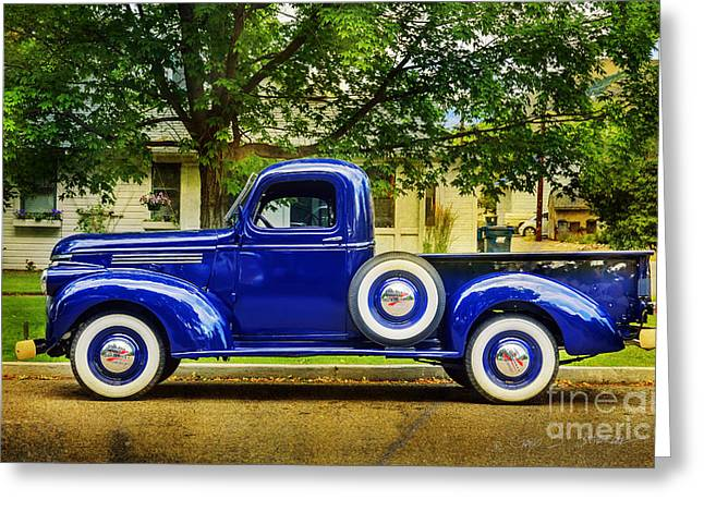 Missoula Blue Truck Greeting Card by Craig J Satterlee