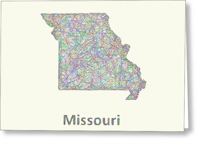 Missouri Line Art Map Greeting Card