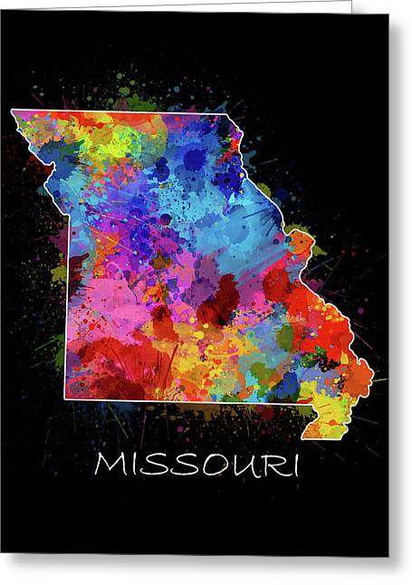 Missouri Map Color Splatter 2 Greeting Card