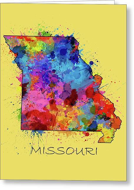 Missouri Map Color Splatter 4 Greeting Card