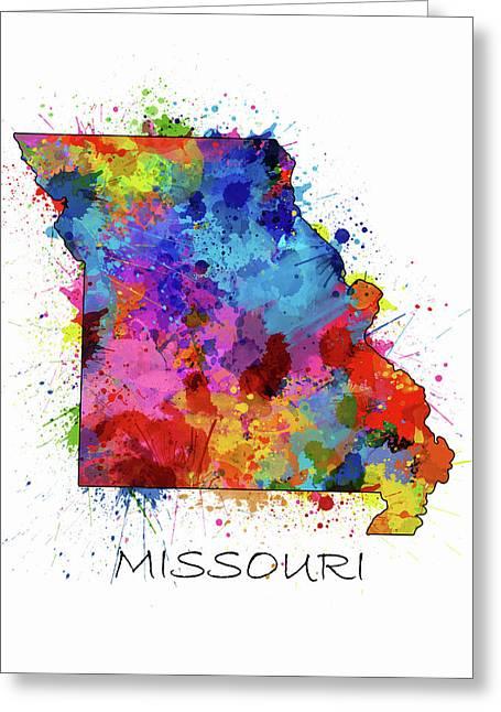 Missouri Map Color Splatter Greeting Card