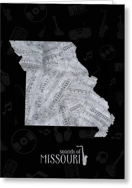 Missouri Map Music Notes 2 Greeting Card