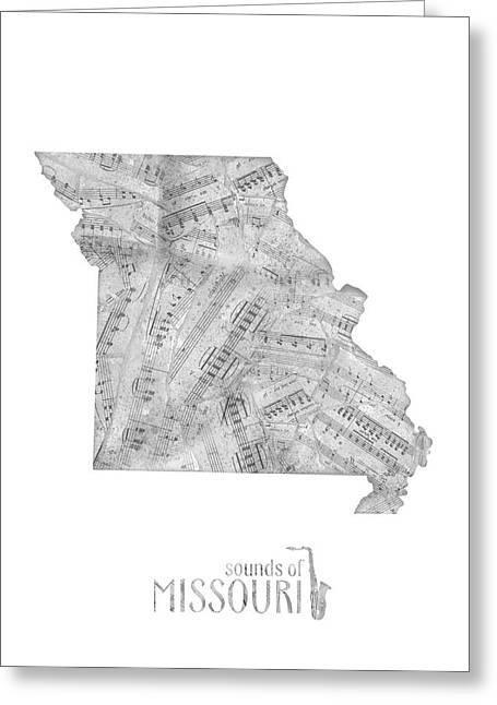 Missouri Map Music Notes Greeting Card