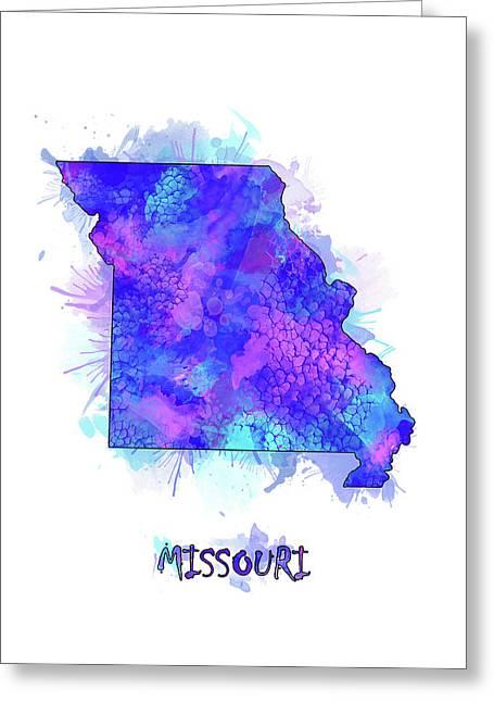 Missouri Map Watercolor 2 Greeting Card