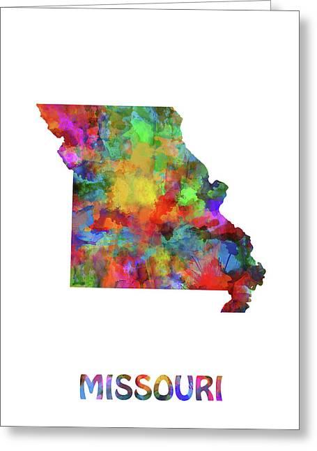 Missouri Map Watercolor Greeting Card