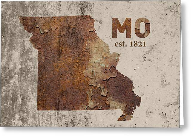 Missouri State Map Industrial Rusted Metal On Cement Wall With Founding Date Series 033 Greeting Card by Design Turnpike