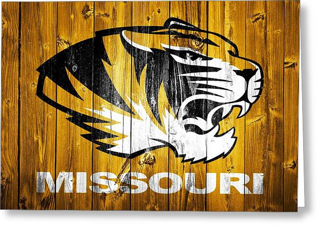 Missouri Tigers Barn Door Greeting Card by Dan Sproul