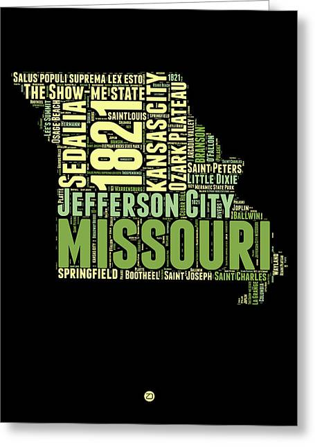 Missouri Word Cloud Map 1 Greeting Card by Naxart Studio